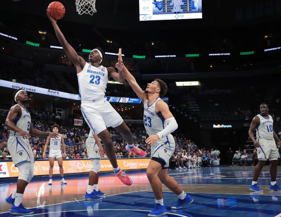 <strong>University of Memphis forward Malcolm Dandridge (23) shoots under pressure by the Privateers' Ahren Freeman (23) during the Tigers' game on Dec. 28, 2019, against New Orleans at the FedExForum.</strong> (Jim Weber/Daily Memphian)