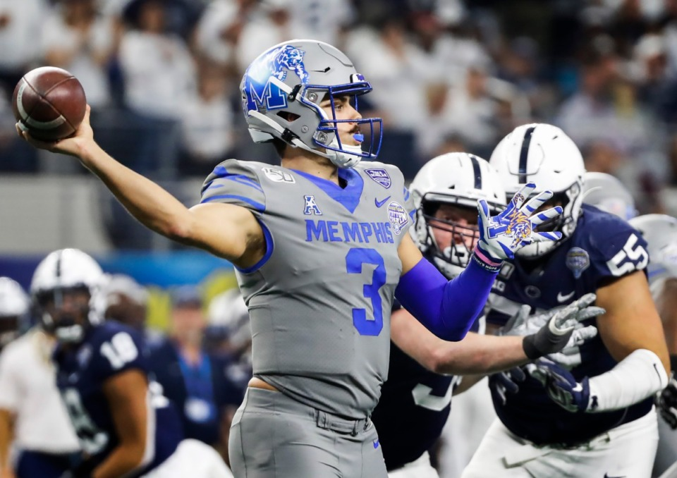 <strong>University of Memphis quarterback Brady White makes a throw against the Penn State defense during action at the Cotton Bowl on Dec. 28, 2019, at AT&amp;T Stadium in Arlington, Texas.</strong> (Mark Weber/Daily Memphian)