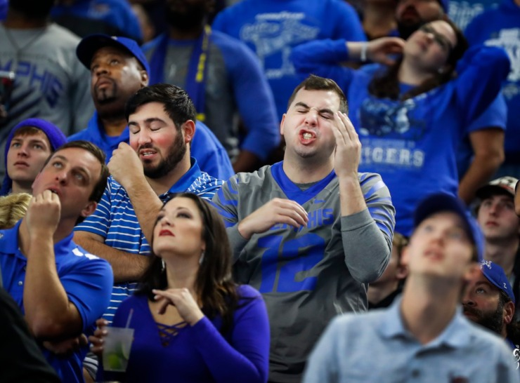 <strong>University of Memphis fans react after a Penn State touchdown during action at the Cotton Bowl Saturday, Dec. 28, 2019 at AT&amp;T Stadium in Arlington, Texas.</strong> (Mark Weber/Daily Memphian)