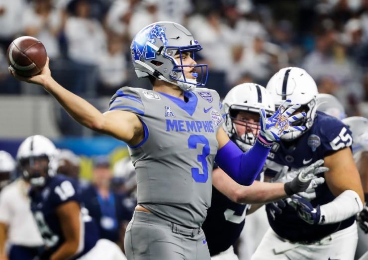 <strong>University of Memphis quarterback Brady White makes a throw against the Penn State defense during action at the Cotton Bowl Saturday, Dec. 28, 2019 at AT&amp;T Stadium in Arlington, Texas.</strong> (Mark Weber/Daily Memphian)