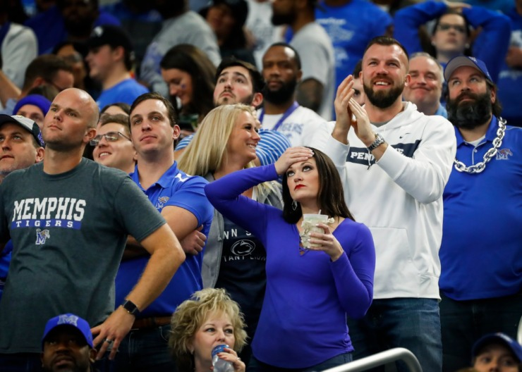 <strong>University of Memphis fans react after a Penn State touchdown at the Cotton Bowl Saturday, Dec. 28, 2019 at AT&amp;T Stadium in Arlington, Texas.</strong> (Mark Weber/Daily Memphian)