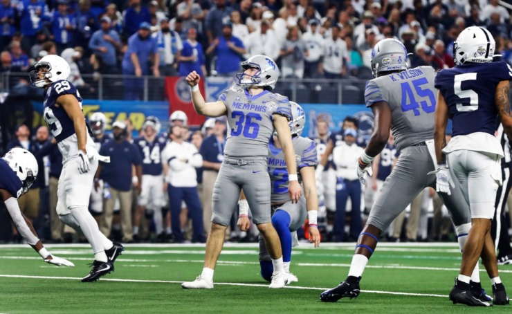 <strong>University of Memphis kicker Riley Patterson (middle) makes one of his six field goals against Penn State at the Cotton Bowl Saturday, Dec. 28, 2019 at AT&amp;T Stadium in Arlington, Texas.</strong> (Mark Weber/Daily Memphian)