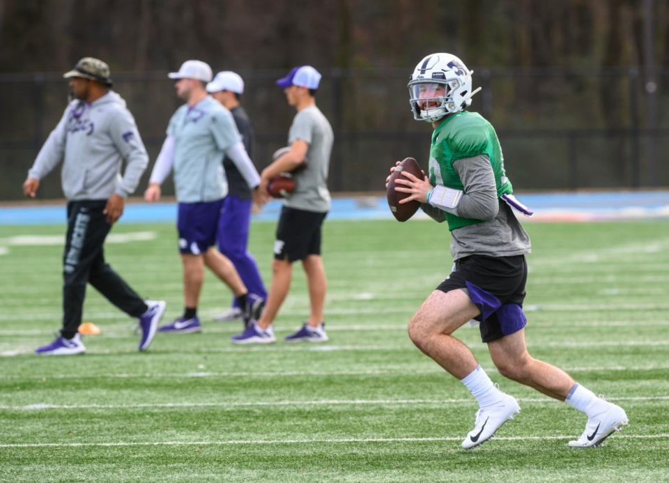<strong>KSU starting quarterback Skylar Thompson runs plays during practice for the AutoZone Liberty Bowl at MUS Saturday, December 28, 2019.</strong> (Greg Campbell/Special to The Daily Memphian)