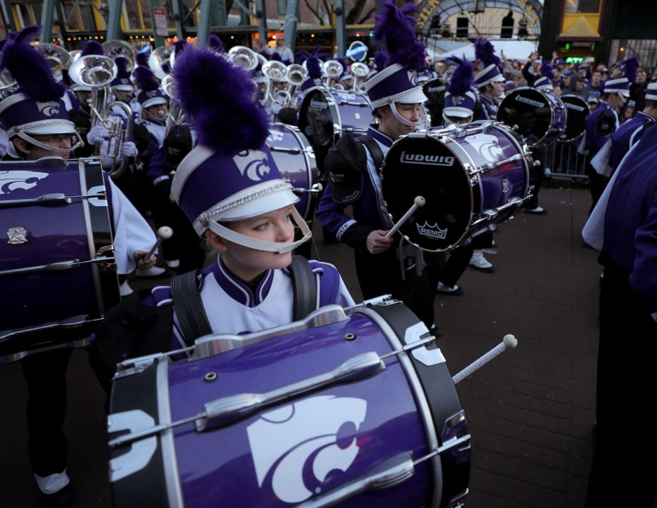 <strong>The Kansas State band performs on Beale Street during the AutoZone Liberty Bowl Parade Dec. 30, 2019.</strong> (Patrick Lantrip/Daily Memphian)