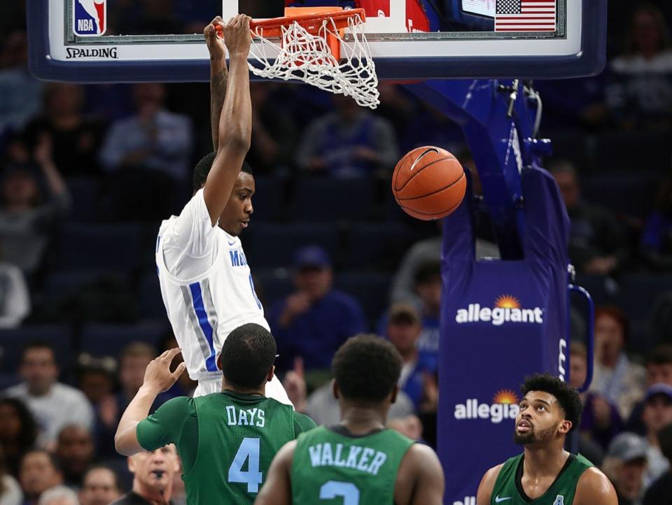 <strong>University of Memphis forward DJ Jeffries (0) slams home the ball during a home game against Tulane University Dec. 30, 2019.</strong> (Patrick Lantrip/Daily Memphian)