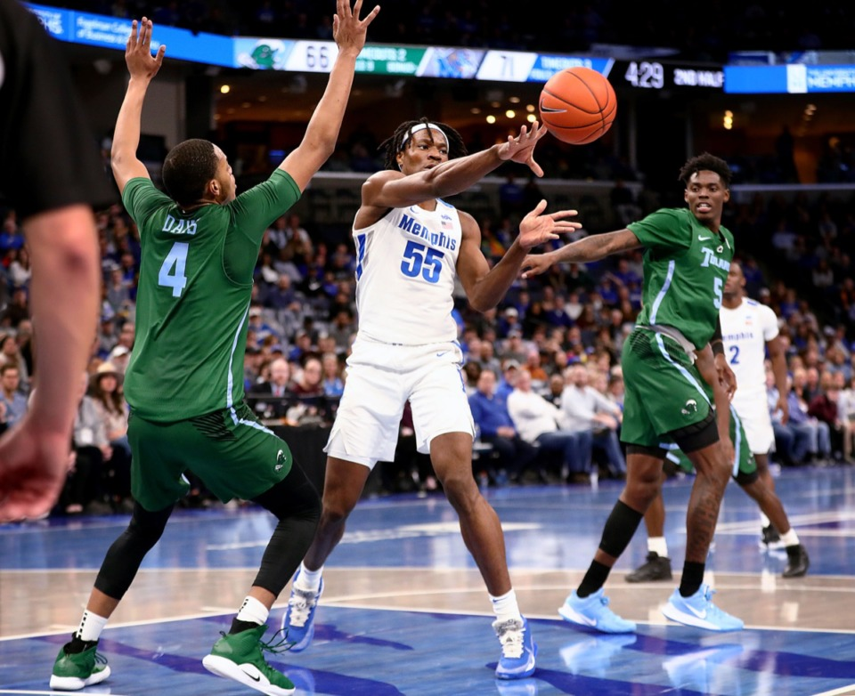 <strong>University of Memphis forward Precious Achiuwa passes the ball in the paint during a home game against Tulane University at the FedExForum Dec. 30, 2019.</strong> (Patrick Lantrip/Daily Memphian)