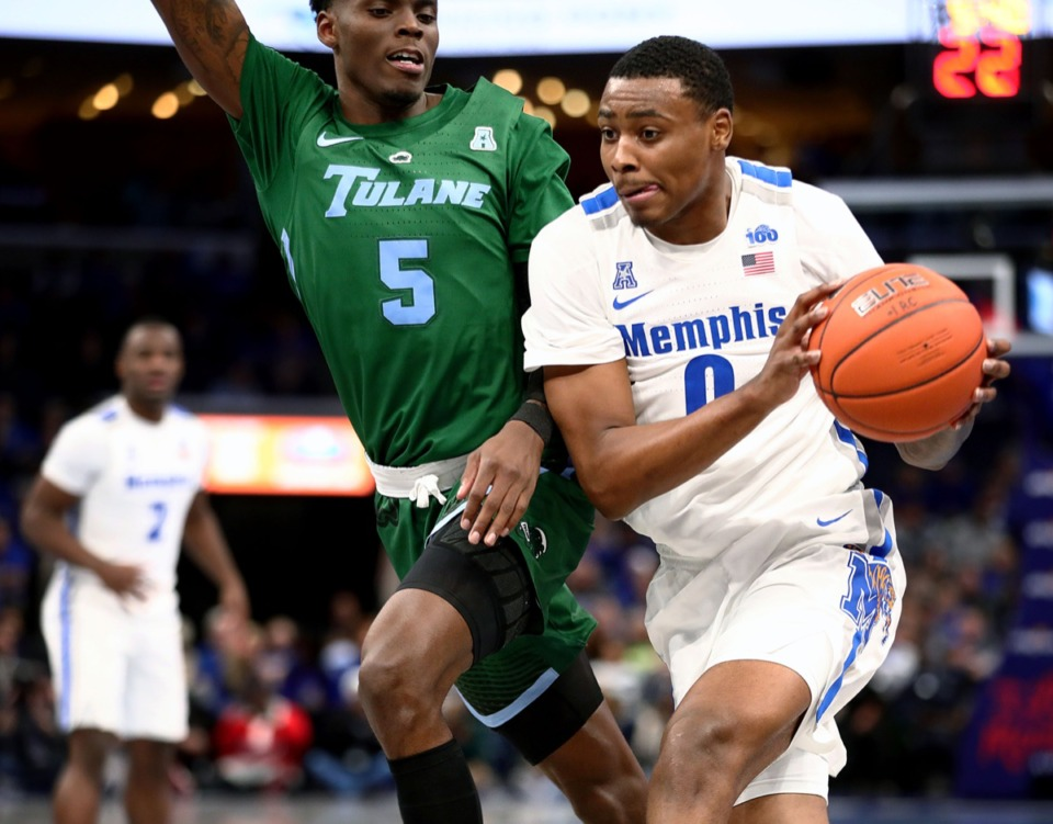 <strong>University of Memphis forward DJ Jeffries (0) drives to the basket during a home game against Tulane University at the FedExForum Dec. 30, 2019.</strong> (Patrick Lantrip/Daily Memphian)