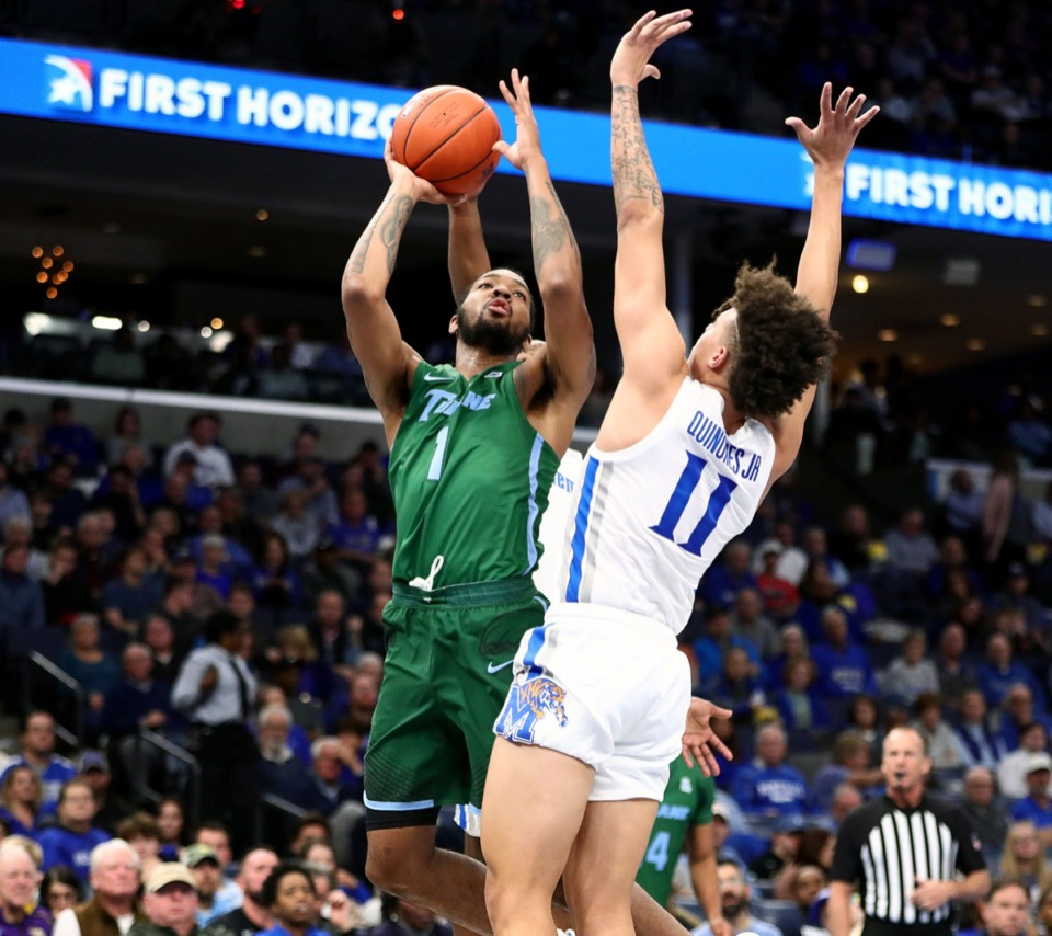 <strong>Former University of Memphis forward K.J. Lawson (1), now with Tulane University, goes to the basket during a game against at the FedExForum Dec. 30, 2019.</strong> (Patrick Lantrip/Daily Memphian)