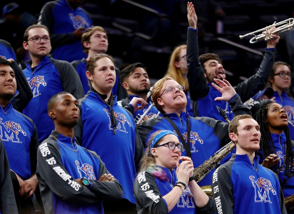 <strong>The University of Memphis band reacts to a call during a home game against Tulane University at the FedExForum Dec. 30, 2019.</strong> (Patrick Lantrip/Daily Memphian)