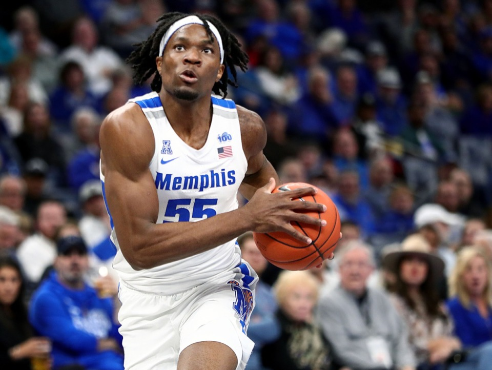 <strong>University of Memphis forward Precious Achiuwa drives to the basket during a home game against Tulane University at the FedExForum Dec. 30, 2019.</strong> (Patrick Lantrip/Daily Memphian)