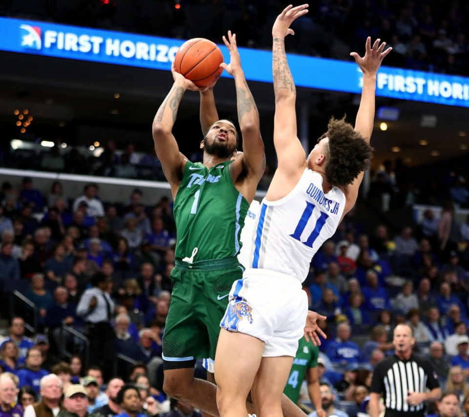 <strong>Former University of Memphis forward K.J. Lawson (1), now with Tulane University, goes to the basket during a game against the Tigers at the FedExForum Dec. 30, 2019.</strong> (Patrick Lantrip/Daily Memphian)