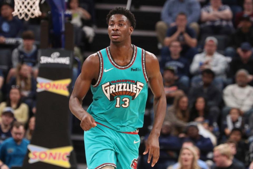 <strong>Memphis' forward Jaren Jackson Jr. (13) heads down court in the second half of an NBA basketball game against Charlotte Sun., Dec. 29, 2019, at FedExForum.</strong> (Karen Pulfer Focht/AP)