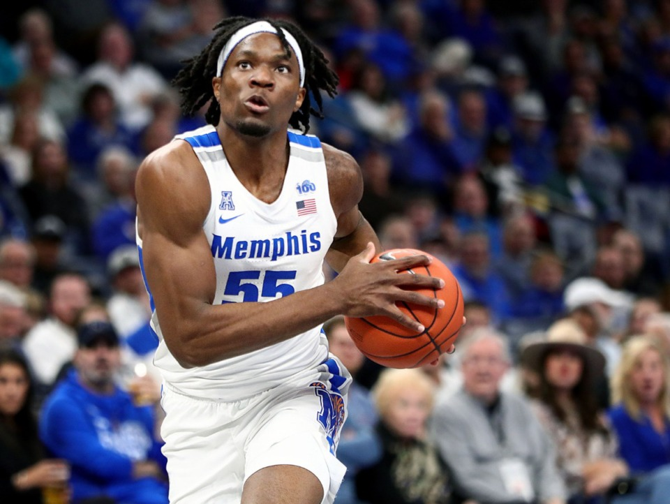 <strong>University of Memphis forward Precious Achiuwa drives to the basket during a home game against Tulane University at the FedExForum Dec. 30, 2019.</strong> (Patrick Lantrip/Daily Memphian)