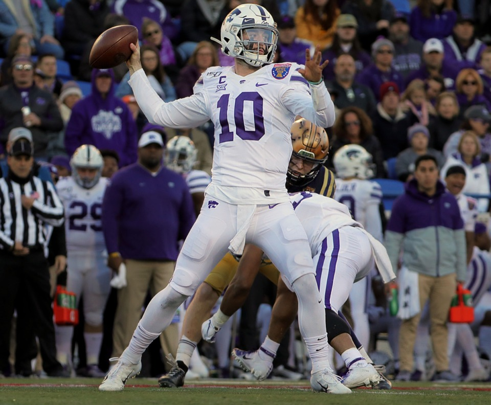 <strong>Kansas State University quarterback Skylar Thompson (10) throws the ball against Navy during the first half of the AutoZone Liberty Bowl Dec. 31, 2019.</strong> (Patrick Lantrip/Daily Memphian)