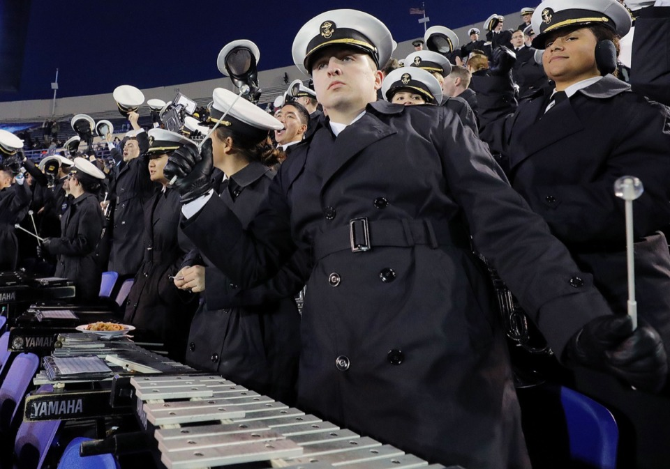<strong>The Navy band dances during the 61st AutoZone Liberty Bowl Dec. 31, 2019.</strong> (Patrick Lantrip/Daily Memphian)