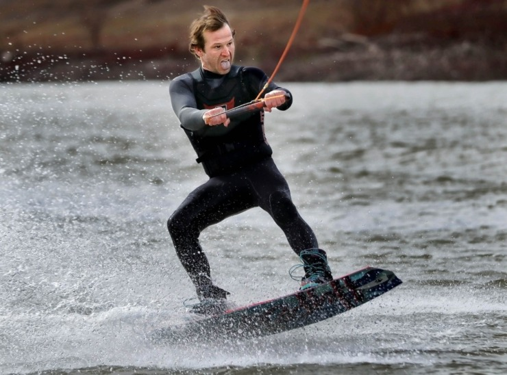 <strong>Cameron King reacts after narrowly recovering from a jump during the 43rd annual Ski Freeze at the Mud Island River Park on Jan. 1, 2020. Hosted by the Collierville Ski Club, water skiers, barefooters and wakeboarders braved the frigid water of the Wolf River to raise money for The Dream Factory of Memphis which grants wishes for critically and chronically ill children ages 3 through 18.</strong> (Jim Weber/Daily Memphian)