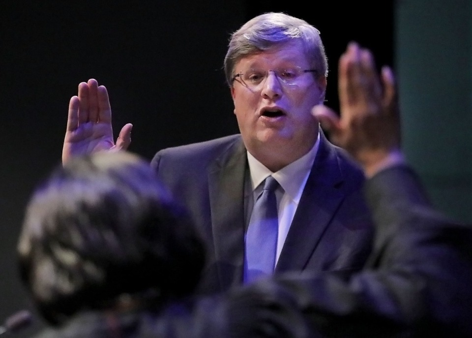 <strong>Memphis mayor Jim Strickland swears his oath of office during a ceremony at the University of Memphis on Jan. 1, 2020, officially beginning his second term as mayor.</strong> (Patrick Lantrip/Daily Memphian)