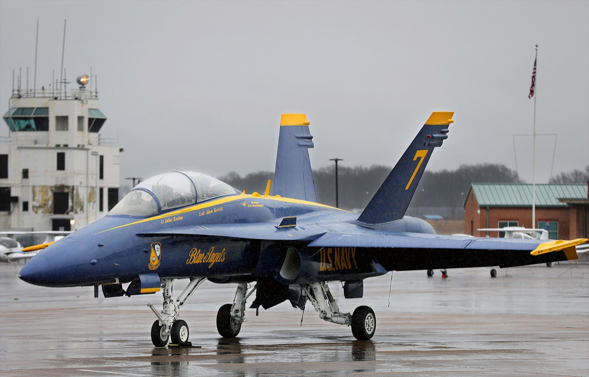 <strong>The U.S. Navy's signature F/A-18 Hornet Blue Angel fighter jet sits parked at the Millington-Memphis Airport Jan. 2, 2020, while in town promoting the Mid-South Airshow.</strong> (Patrick Lantrip/Daily Memphian)