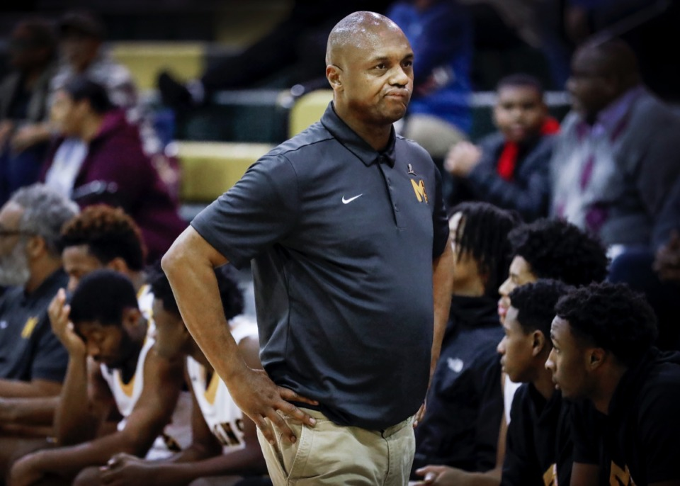 <strong>Memphis Academy of Health Sciences head coach Vernard Watkins reacts after a Crestwood basket during the final minutes of a 74-58 loss Friday, Jan. 3, 2020, at Hoopfest.</strong> (Mark Weber/Daily Memphian)
