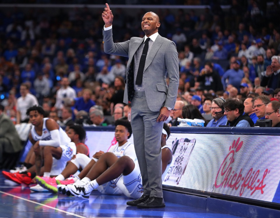 <strong>University of Memphis coach Penny Hardaway reacts to a turnover during the Tigers' game on Jan. 4, 2020, against Georgia at the FedExForum.</strong> (Jim Weber/Daily Memphian)