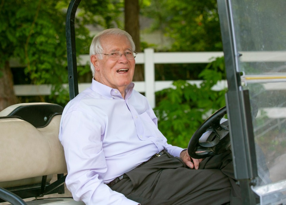 <strong>Bobby Lanier rides in a golf cart at the 2017 Germantown Charity Horse Show. Lanier's life was remembered Jan. 4, 2020, at Germantown Presbyterian Church.</strong> (Courtesy of Alex Ginsburg Photographics)