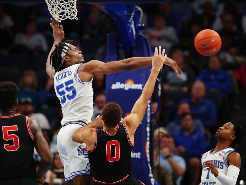 <strong>University of Memphis forward Precious Achiuwa (55) blocks a shot by the Bulldogs' Donnell Gresham Jr. (0) during the Tigers' game on Jan. 4, 2020, against Georgia at the FedExForum.</strong> (Jim Weber/Daily Memphian)