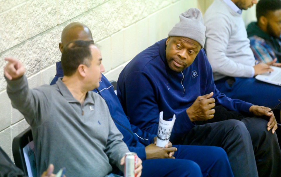 <strong>NBA great and current head coach of the Georgetown Hoyas Patrick Ewing talks with Hoopfest founder and CEO Travis Haddock at Hoopfest on Jan. 4, 2020, at Briarcrest High School.</strong> (Greg Campbell/Special to The Daily Memphian)