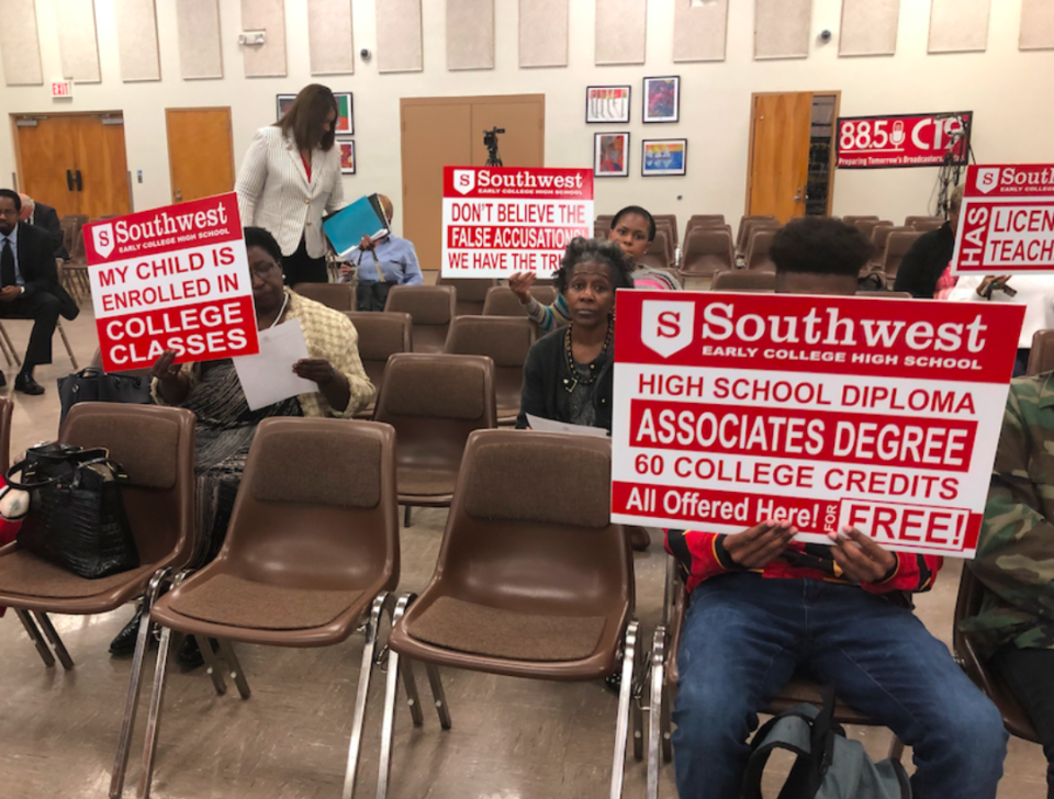 <strong>Parents and students protest Shelby County Schools' recommendation to close Southwest Early College High School, which aims to graduate students with associate degrees in addition to high school diplomas.</strong> (Laura Faith Kebede/Chalkbeat)
