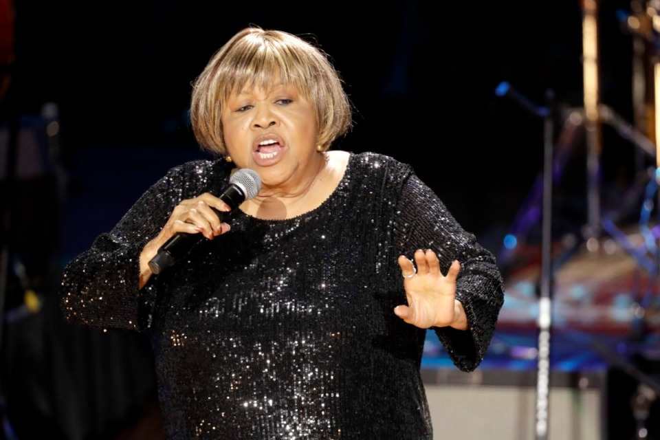 <strong>Mavis Staples performs during the Americana Honors &amp; Awards show on Sept. 11, 2019, in Nashville. Staples&nbsp;is up for the Blues Music Awards' B.B. King Entertainer of the Year Award.</strong> (AP Photo/Wade Payne)