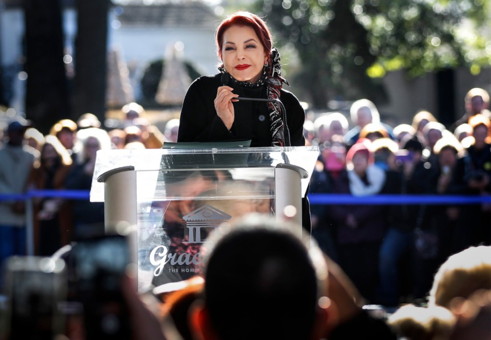 <strong>Priscilla Presley smiles while telling a story about her late former husband Elvis Presley during the Elvis Birthday Proclamation Ceremony on Jan. 8, 2020, at Graceland. </strong>(Mark Weber/Daily Memphian)