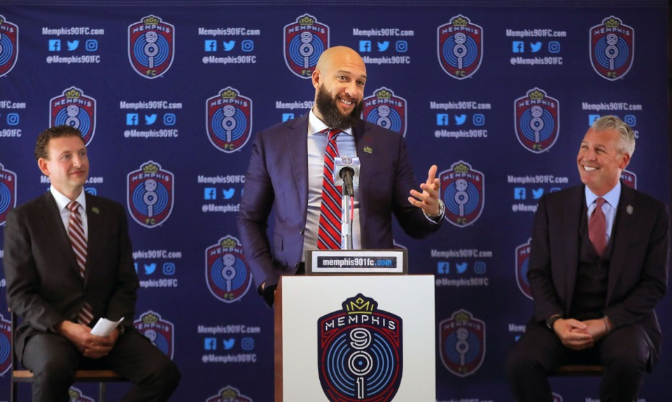 <strong>Former USMNT keeper Tim Howard announced he is accepting a new position as Sporting Director of Memphis 901 FC during a Jan. 8, 2020, press conference at AutoZone Park.</strong> (Patrick Lantrip/Daily Memphian)