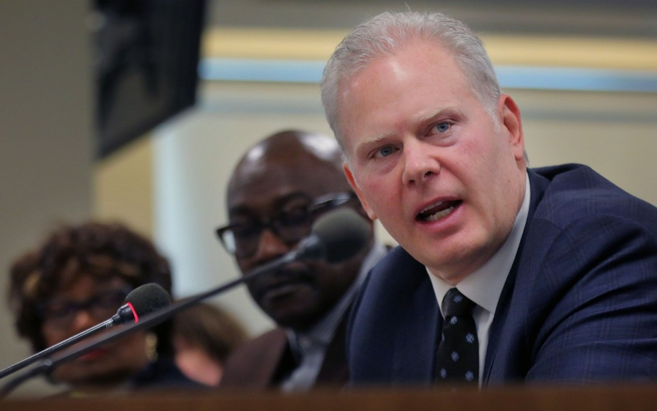 <strong>FedEx Express regional president&nbsp;Richard Smith addresses the Shelby County Commission on Jan. 8, 2020, concerning the Memphis area's dire need for improved mass transit options.</strong> (Patrick Lantrip/Daily Memphian)