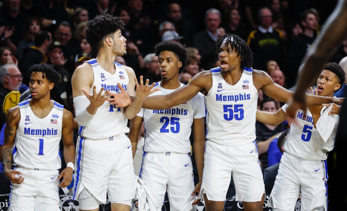<strong>The Memphis bench reacts to an out-of-bounds call in the game against Wichita State Jan. 9, 2020, in Wichita, Kansas.</strong> (Mark Weber/Daily Memphian)