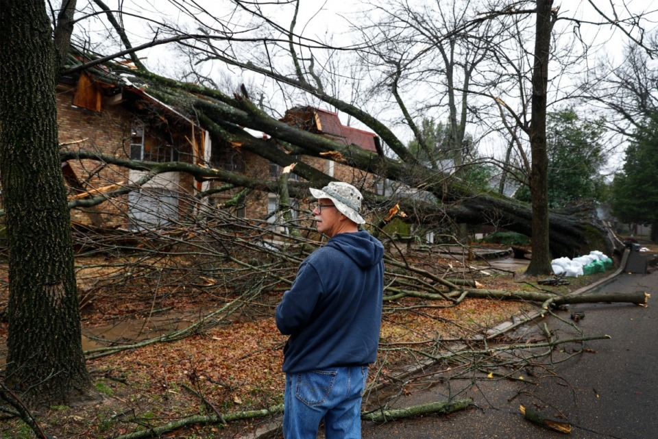 <strong>Fred Speidel surveys a fallen tree that hit an apartment building on East Parkway North near Overton Park on Saturday, Jan. 11, 2020, after severe storms rolled through the Memphis area in the early morning hours.</strong> (Mark Weber/Daily Memphian)