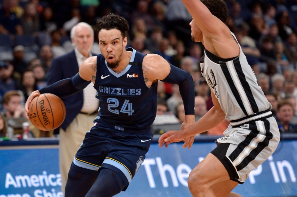 <strong>Memphis Grizzlies guard Dillon Brooks (24) drives against San Antonio Spurs guard Bryn Forbes in the first half of an NBA game on Jan. 10, 2020, in Memphis.</strong> (AP Photo/Brandon Dill)