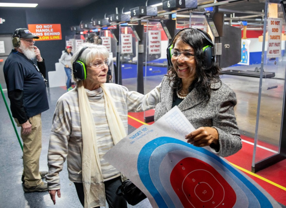<strong>Marti Miller (center) and Charlotte Bergman leave the firing range after the candidate for Congress participated in some shooting practice at Top Gun in East Memphis on Jan. 11, 2020. Bergmann met with Miller and other supporters at the gun range to open her campaign as a Republican primary candidate for the Ninth Congressional District. At left is Bob Stewart, an instructor and safety officer at Top Gun.</strong> (Mike Kerr/Special to The Daily Memphian)