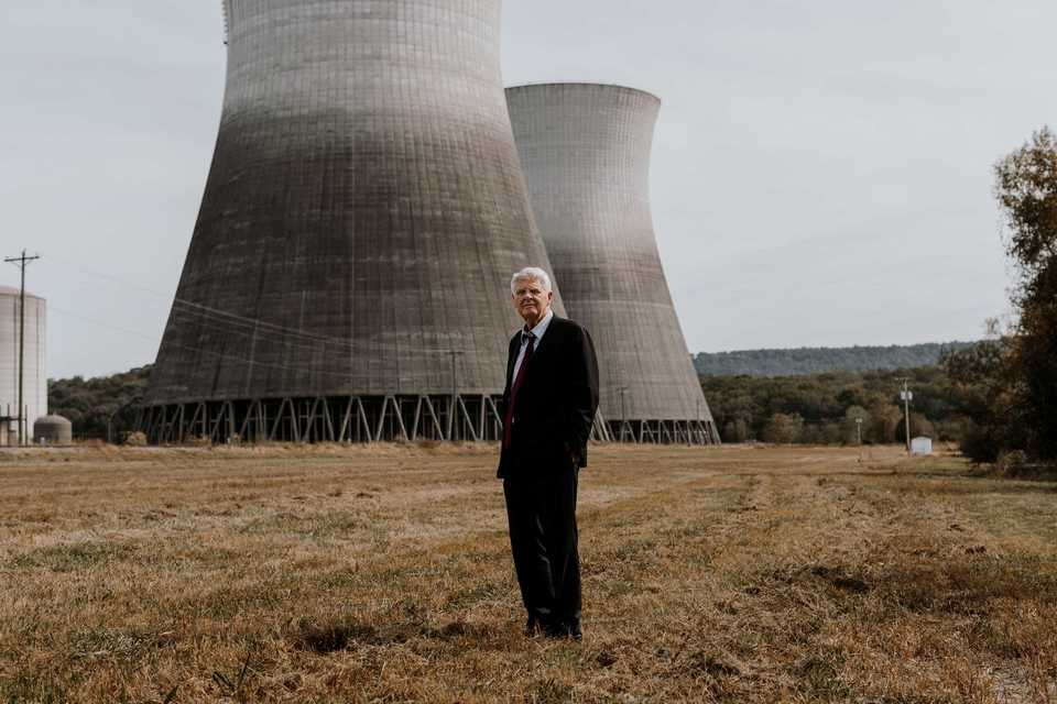 <strong>Millionaire developer Franklin Haney stands in front of the Bellefonte Nuclear Plant in Hollywood, Ala. Haney purchased the plant at auction in 2016 for $111 million, and his plan to&nbsp; make Bellefonte operational again and sell power to Memphis hinges on raising billions of dollars and overcoming some stiff opposition.</strong> (Houston Cofield/Daily Memphian)&nbsp;