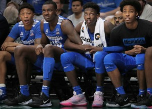 <strong>University of Memphis basketball players Boogie Ellis (from left), Lance Thomas, Damion Baugh and Jayden Hardaway watch a Tigers free throw in the final seconds of the Tigers' game on Jan. 12, 2020, against USF at the Yuengling Center in Tampa, Fla.</strong> (Jim Weber/Daily Memphian)