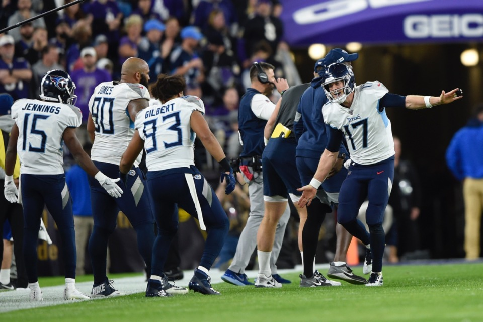<strong>Tennessee Titans quarterback Ryan Tannehill (17) reacts after scoring a touchdown during the second half of an NFL divisional playoff football game, Saturday, Jan. 11, 2020, in Baltimore.</strong>&nbsp;<strong>Now it's on to the Chiefs.</strong> (Gail Burton/AP)
