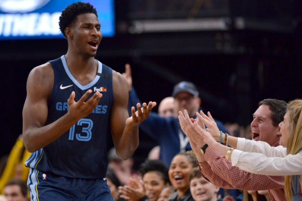 <strong>Memphis Grizzlies forward Jaren Jackson Jr. (13) gestures to fans in the second half of an NBA basketball game against the San Antonio Spurs Friday, Jan. 10, 2020, in Memphis, Tenn.</strong> (Brandon Dill/AP)
