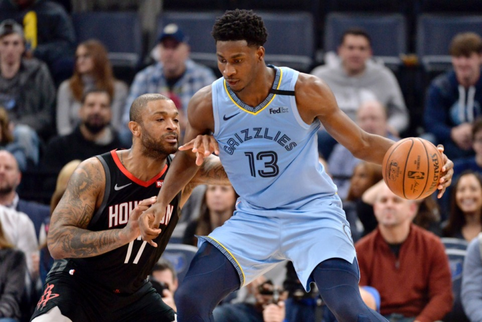 <strong>Memphis Grizzlies forward Jaren Jackson Jr. (13) is defended by Houston Rockets forward PJ Tucker (17) during the first half of an NBA basketball game Tuesday, Jan. 14, 2020, at FedExForum.</strong> (Brandon Dill/AP)