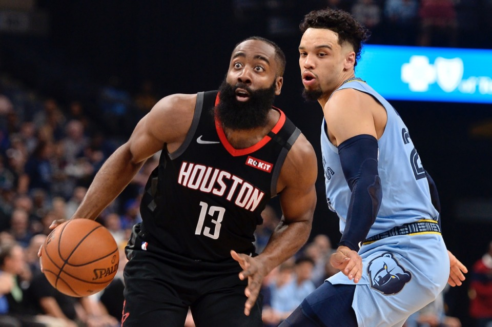 <strong>Houston Rockets guard James Harden (13) charges Grizzlies guard Dillon Brooks in the first half of an NBA basketball game Tuesday, Jan. 14, 2020, at FedExForum.</strong> (Brandon Dill/AP)