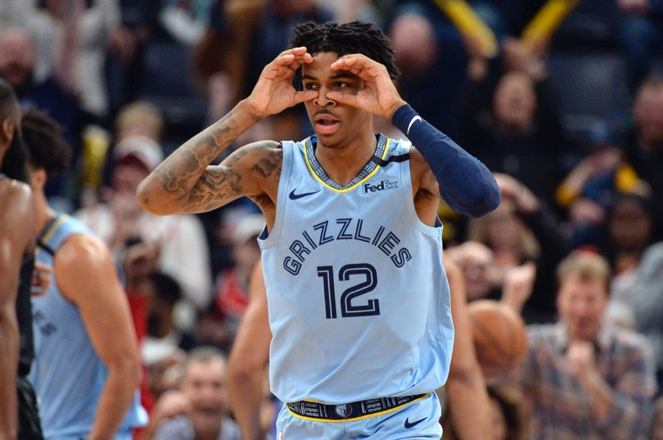 <strong>Memphis Grizzlies guard Ja Morant reacts after an assist in the first half of the team's NBA basketball game against the Houston Rockets on Tuesday, Jan. 14, 2020, at FedExForum.</strong> (Brandon Dill/AP)