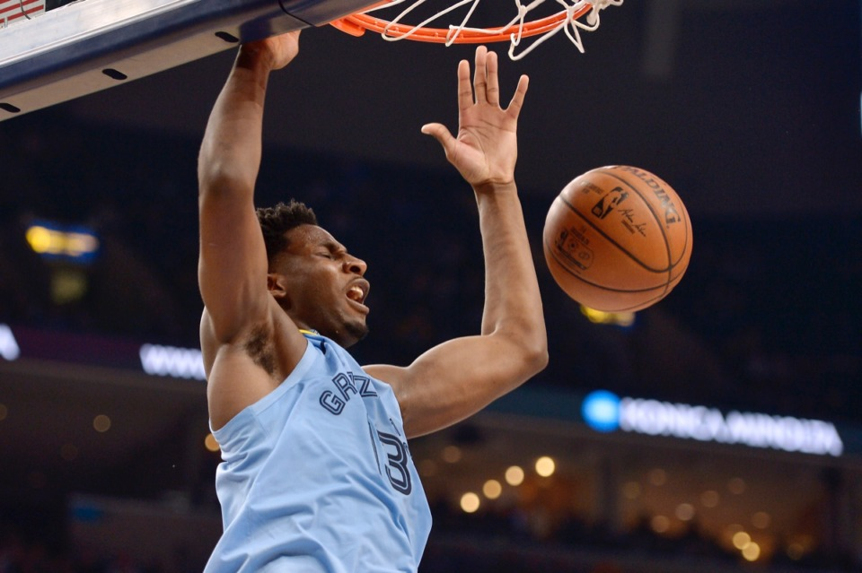 <strong>Memphis Grizzlies forward Jaren Jackson Jr. (13) dunks during the second half of the team's NBA basketball game against the Houston Rockets on Tuesday, Jan. 14, 2020, at FedExForum.</strong> (Brandon Dill/AP)