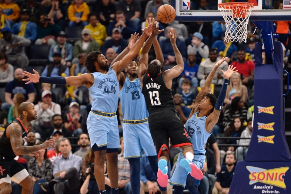 <strong>Houston Rockets guard James Harden (13) is blocked on a shot by Memphis Grizzlies forward Solomon Hill (44), forward Jaren Jackson Jr. (13) and guard Ja Morant (12) during the second half of an NBA basketball game Tuesday, Jan. 14, 2020, at FedExForum.</strong> (Brandon Dill/AP)