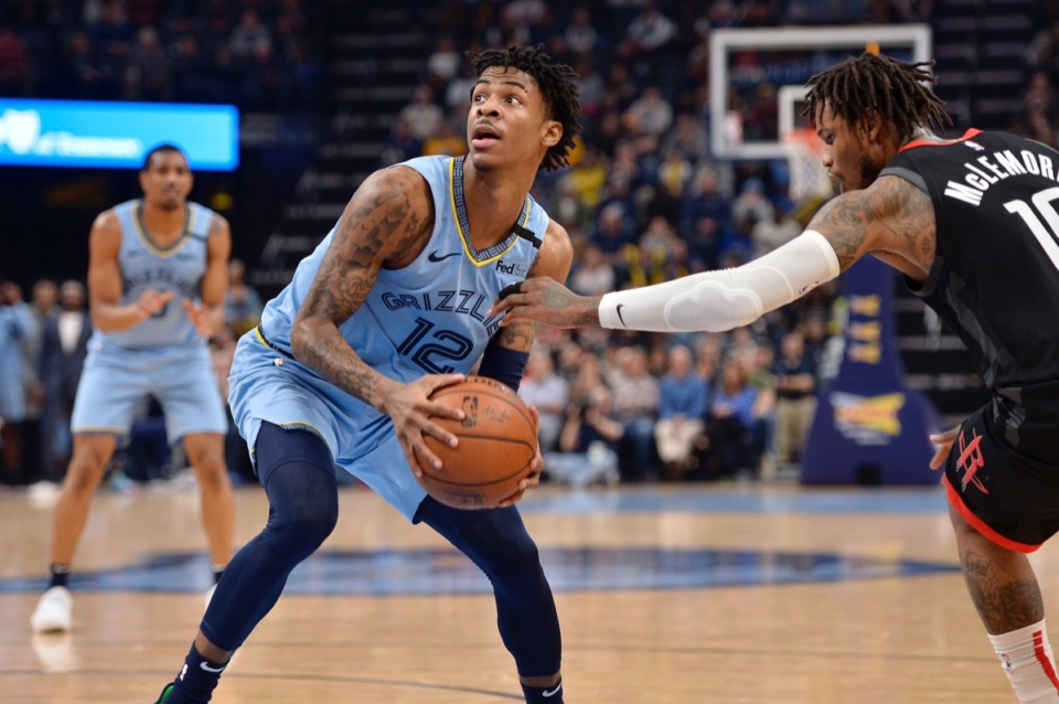 <strong>Memphis Grizzlies guard Ja Morant (12) is defended by Houston Rockets guard Ben McLemore (16) in the second half of an NBA basketball game Tuesday, Jan. 14, 2020, at FedExForum.</strong> (Brandon Dill/AP)