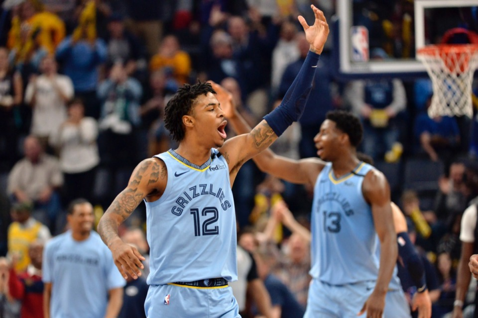 <strong>Memphis Grizzlies guard Ja Morant (12) and forward Jaren Jackson Jr. (13) react in the first half of an NBA basketball game against the Houston Rockets Tuesday, Jan. 14, 2020, at FedExForum.</strong> (Brandon Dill/AP)