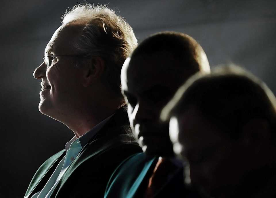 <strong>TVA president Bill Johnson (left) and MLGW president J.T. Young (center) listen as Memphis Mayor Jim Strickland speaks during a formal opening of the new Allen Combined Cycle Plant in southwest Memphis on Nov 8.</strong> (Jim Weber/Daily Memphian)