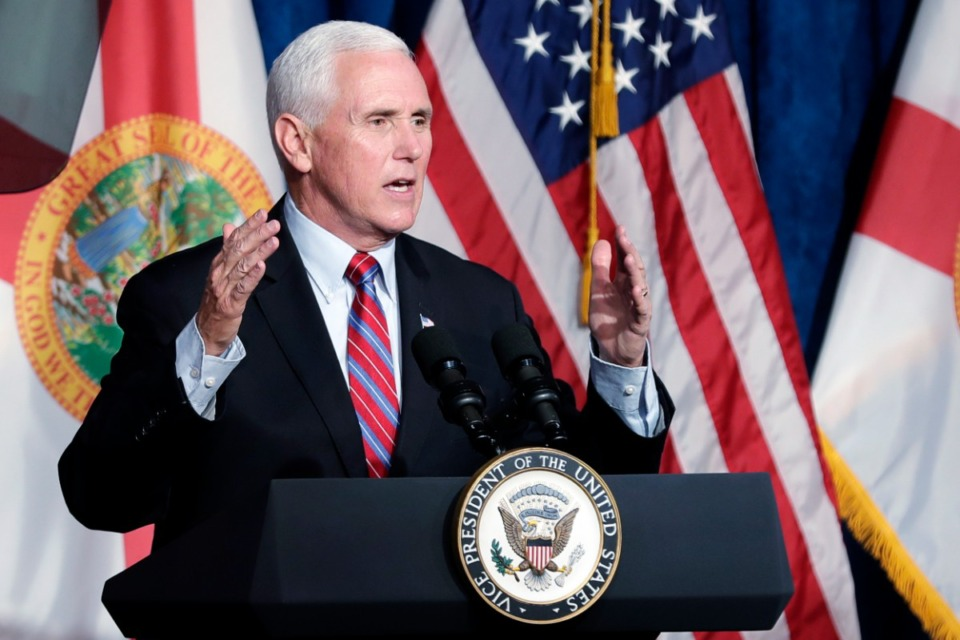 Vice President Mike Pence delivers remarks during a campaign event Thursday, Jan. 16, 2020, in Kissimmee, Fla. Pence will visit a Raleigh church on Sunday morning, Jan. 19. (AP Photo/John Raoux)