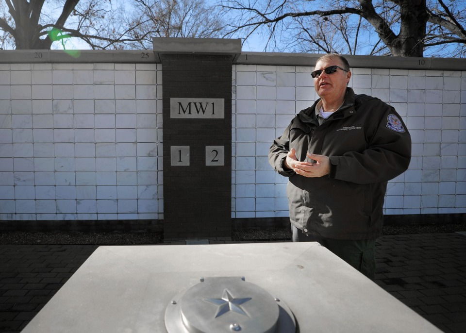 <strong>Randall Crow, cemetery foreman at Memphis National Cemetery, stands in front of an ossuary on Tuesday, Jan. 7, that was installed at the cemetery.</strong> (Patrick Lantrip/Daily Memphian)